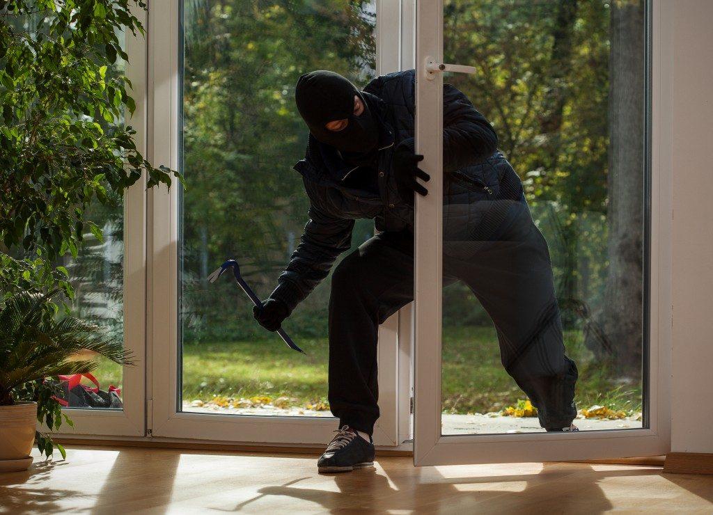 a burglar breaking in